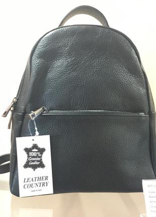 Рюкзак италия, натур. кожа, чёрный