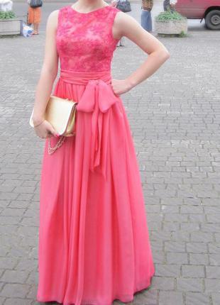 Выпускное / вечернее платье светло-кораллового цвета