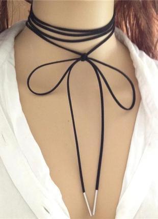 Чокер, длинный шнурок на шею с золотистыми наконечниками, аксессуар на шею колье ожерелье