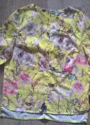 Нарядная шелковая блузка цветочный принт, с замком сзади и разрезами по боках. glamorous