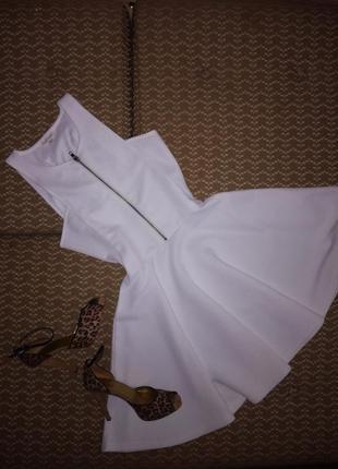 Белое платье из структурной ткани с юбкой солнце-клеш river island