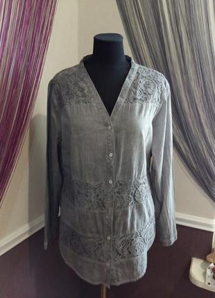 Красивая блуза рубашка с кружевом charles vogele