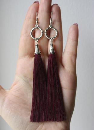 Серьги серёжки кисти кисточки марсала нити длинные модные бохо
