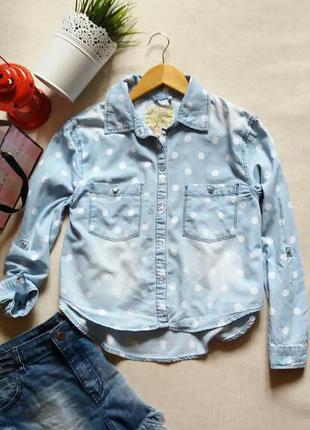 Джинсовая рубашка в горох