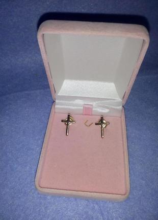 Серьги-кресты из золотистого медицинского металла