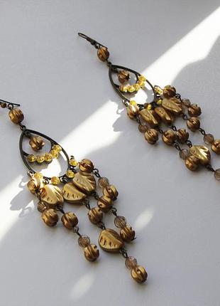 Желтые, очень красивые, длинные серьги/сережки