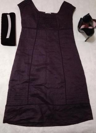 Льняное платье-футляр цвета марсала