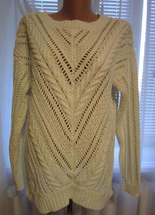 Белый ажурный свитер оверсайз. свитер хлопок. много брендовых вещей)