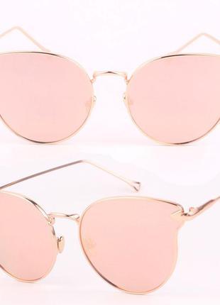 Брендовые очки розовое золото