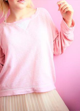 Нежно розовый свитшот из двунитки. котоновый свитшот оттенка розовый кварц.