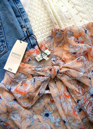 Нежная абрикосовая блузка в цветочный принт papaya