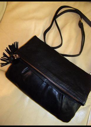 Vip стильная кожаная сумка на плечо – 100% натуральная кожа – oasis – китица