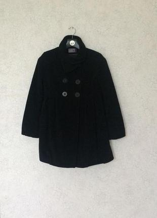 Шерстяное пальто чёрное размер s