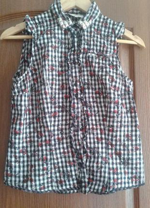 Легкая блуза рубашка клетка шипы на вороте