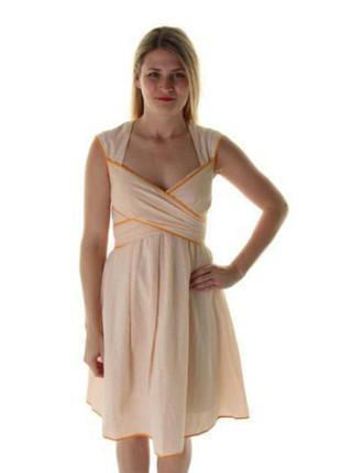 Платье для лета  а-силуэт нежного  персикового цвета (usa) под пояс m- l