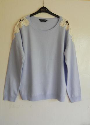 100% коттон нежный свитер,кофта  с кружевом указан 16р.eur 44 (см.замеры)