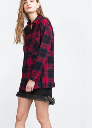 Zara рубашка в клетку м- размер