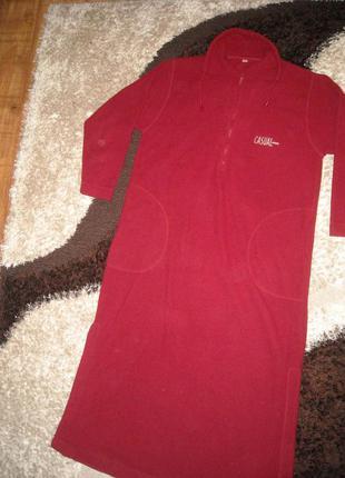 Теплый флисовый халат ночнушка платье
