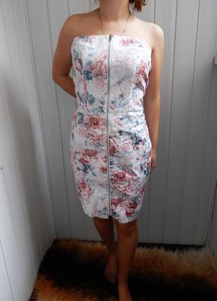 Платье naf-naf коктейльное весна-лето с цветочным принтом