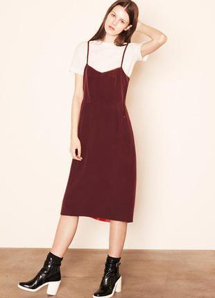 Платье поверх футболки! платье майка комбинация в бельевом стиле с разрезом с-м