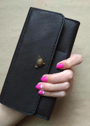 Большой кошелёк из красивой плотной кожи ручной работы