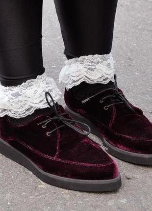 Криперы, ботинки, вельветовые, бархат марсала