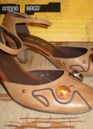 Босоножки антонио биаджи натур коричневая кожа 35 размер на стопу 22,5-23 см