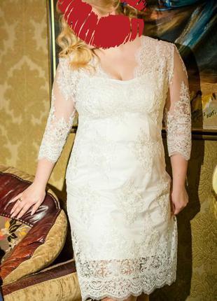 Платье свадебное вечернее, кружевное белое