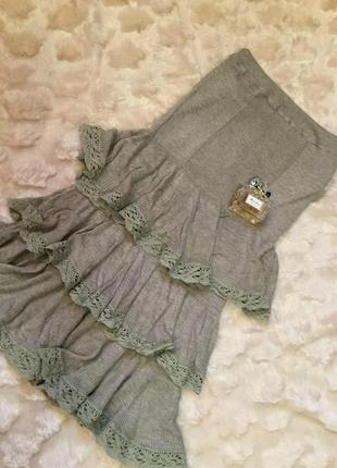 Новое платице манго casual вязка резинкой , платье с воланами