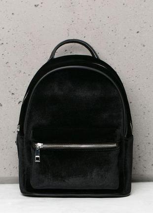 Бархатный чёрный рюкзак bershka