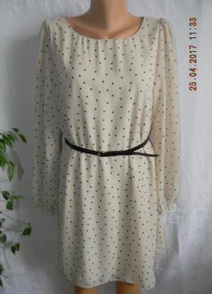 Платье в горошек прямого кроя
