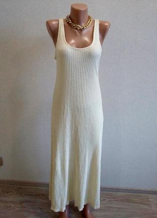 Нюдовое платье в рубчик от zara