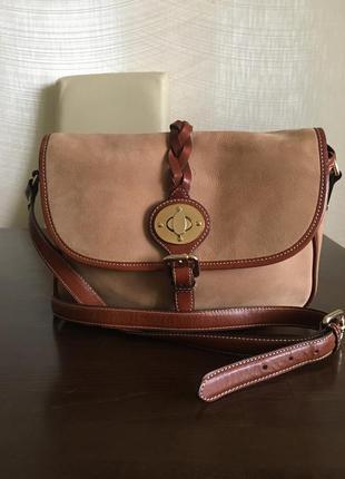 Massimo dutti оригинал бежевая замшевая сумка через плечо нубук кожа