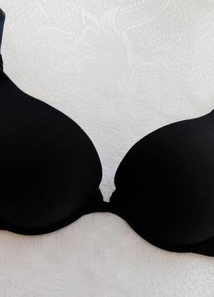 80в двойной пуш-ап гладкий бюстгальтер классического черного цвета