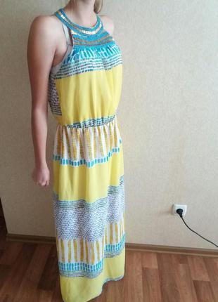 Жёлтое длинное платье,на выпускной вечернее