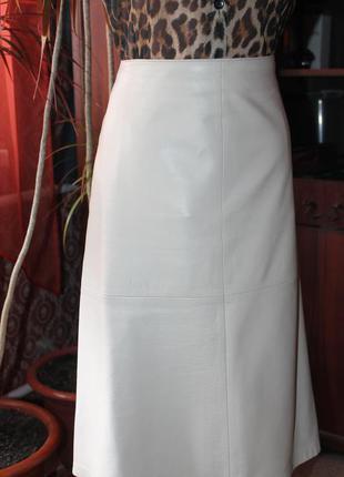 Классная  кожаная юбка marks & spencer, размер 14 (см. замеры)