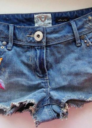 Джинсовые шорты с вышивкой рр:6 xs