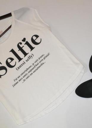 Футболка с шифоновыми рукавами, футболка с надписью selfie  bershka