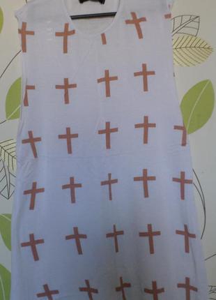Майка футболка топ белая леопард крест