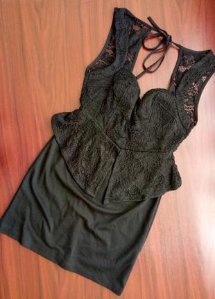 Шикарное вечернее чёрное платье бандо бюстье кружево cameo rose 10 38 m