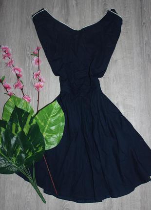 Синее платье с красивой спинкой