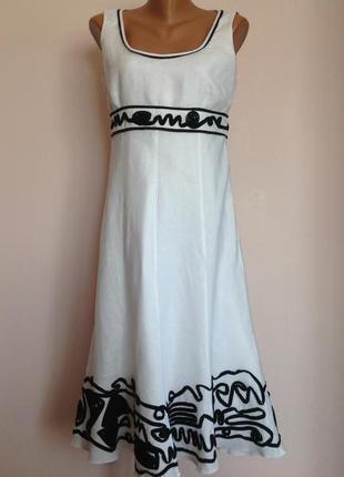 Белое  леновое платье. /12/ brend  marks spencer