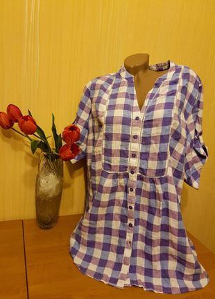 Классная льняная рубашка-блуза 56-60р