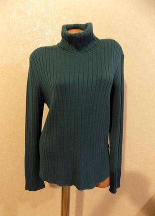 Гольф с горлом свитер водолазка под горло зеленая фирменная cecil размер 50-52