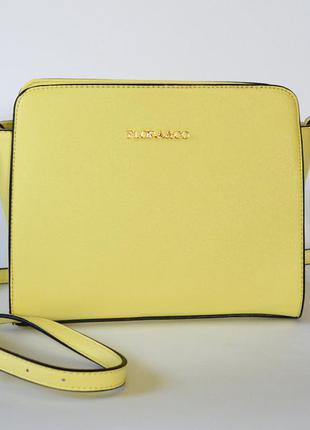 Сумка желтого (лимонадного) цвета, flora&co, в стиле michael kors
