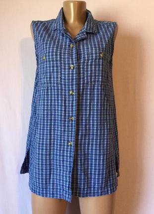 Рубашка клетчатая весеняя летняя синяя распродажа