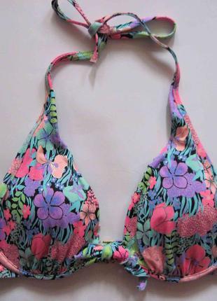 Яркий купальник victoria's secret оригинал в цветы 36с 80с на большую грудь с принтом