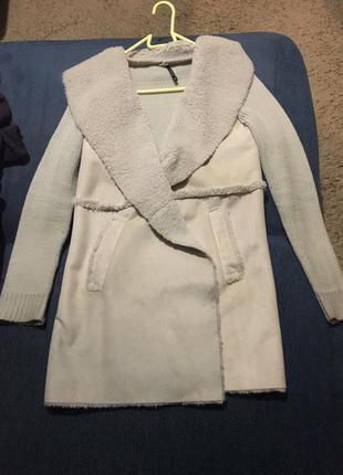Вязанное пальто косуха легкое