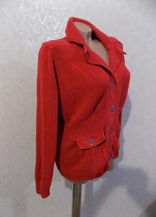 Кофта кардиган на кнопках с карманами красный фирменный rs woman размер 48