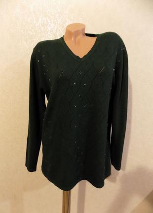 Кофта свитер шерстяной пуловер зеленый с биссером размер 52-54